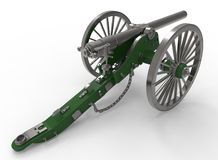 3d illustration of civil war cannon. White background . murder weapon. explosive shot. field artillery Royalty Free Stock Photography
