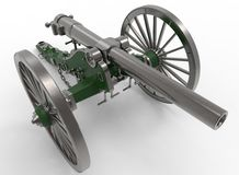 3d illustration of civil war cannon. White background . murder weapon. explosive shot. field artillery Stock Photo