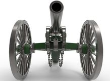 3d illustration of civil war cannon. White background . murder weapon. explosive shot. field artillery Royalty Free Stock Photo