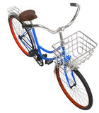 3d illustration classic blue  bike with basket 1. 3d illustration classic blue  bike with basket  isolated on white 1 Royalty Free Stock Images