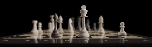 A classic chess board game as a banner Royalty Free Stock Image