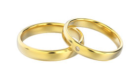 3D illustration classic yellow gold rings with diamond Royalty Free Stock Image