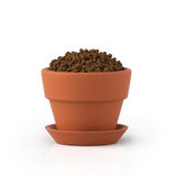 3D illustration. Clay pot with the earth Royalty Free Stock Images