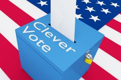 Clever Vote concept. 3D illustration of Clever Vote script on a ballot box, with US flag as a background Stock Photography