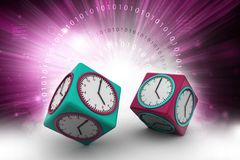 Clock in cube with technical brain. 3d illustration of Clock in cube with technical brain Stock Photos