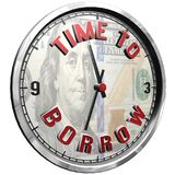 3D Illustration Clock Face with text Time To Borrow. High resolution 3d illustration of clock face with text Time To Borrow isolated on pure white background Stock Illustration