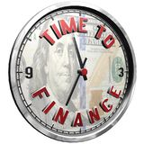 3D Illustration Clock Face with text Time To Finance. High resolution 3d illustration of clock face with text Time To Finance isolated on pure white background stock illustration