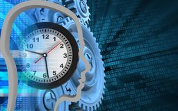 3d blue gears. 3d illustration of clock over binary background with blue gears Royalty Free Stock Photo