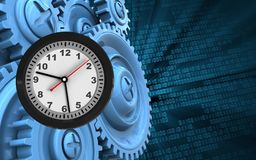 3d blue gears. 3d illustration of clock over binary background with blue gears Stock Image
