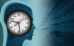 3d clock. 3d illustration of clock over binary background with Stock Photography