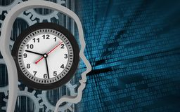 3d gears. 3d illustration of clock over binary background with gears Royalty Free Stock Images