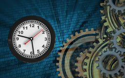 3d blank. 3d illustration of clock over binary background with gears system Stock Photos