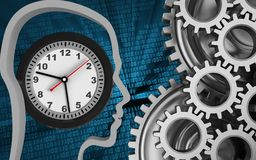 3d blank. 3d illustration of clock over binary background with mechanic Royalty Free Stock Photography
