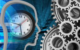 3d digital. 3d illustration of clock over binary background with mechanic Royalty Free Stock Photography