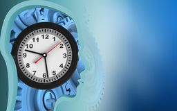 3d clock. 3d illustration of clock over blue background with blue gears Royalty Free Stock Photo
