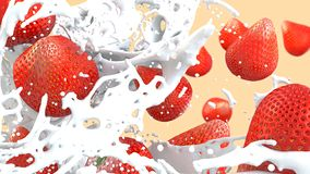 Close-up of a fruit drink with cream and strawberries royalty free stock photos