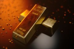 3D illustration close-up Gold Bars, weight of Gold Bars 1000 grams Concept of wealth and reserve. Concept of success in. Business and finance Stock Photography