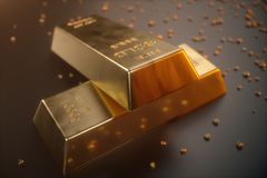 3D illustration close-up Gold Bars, weight of Gold Bars 1000 grams Concept of wealth and reserve. Concept of success in. Business and finance Stock Photos
