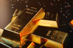 3D illustration close-up Gold Bars, weight of Gold Bars 1000 grams Concept of wealth and reserve. Concept of success in. Business and finance Royalty Free Stock Photography
