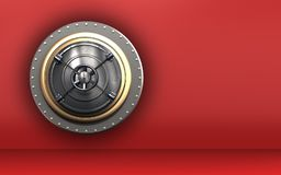 3d closed bank door safe. 3d illustration of closed bank door  over red background Royalty Free Stock Images