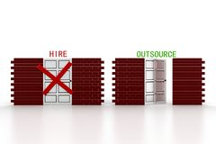 3d illustration of closed door of concept of hire and open door Royalty Free Stock Photography