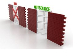 3d illustration of closed door of concept of hire and open door Stock Photos