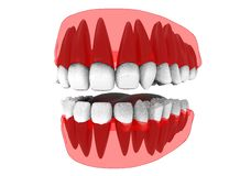 3d illustration of closed gum with teeth and tongue. Stock Photos