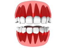 3d illustration of closed gum with teeth and tongue. Icon for game web. white background isolated. colored and cute. anatomy part of the mouth stock illustration