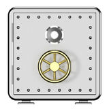 3d illustration of closed metal safe  on white background. Security concept. Icon Royalty Free Stock Photos