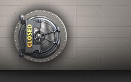 3d closed vault door closed vault door. 3d illustration of closed vault door  over iron wall background Stock Photo