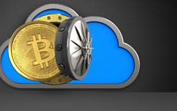 3d bitcoin over black. 3d illustration of cloud with bitcoin over black background Stock Photos
