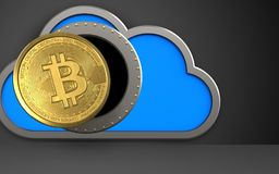 3d bitcoin over black. 3d illustration of cloud with bitcoin over black background Royalty Free Stock Image