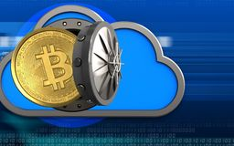 3d bitcoin over cyber. 3d illustration of cloud with bitcoin over cyber background Royalty Free Stock Image