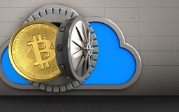 3d bitcoin over iron wall. 3d illustration of cloud with bitcoin over iron wall background Royalty Free Stock Photos