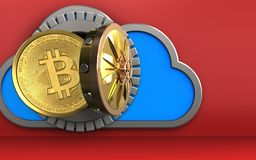 3d bitcoin over red. 3d illustration of cloud with bitcoin over red background Stock Photos
