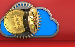 3d bitcoin over red. 3d illustration of cloud with bitcoin over red background Royalty Free Stock Photos