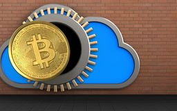 3d bitcoin over red bricks. 3d illustration of cloud with bitcoin over red bricks background Royalty Free Stock Photos