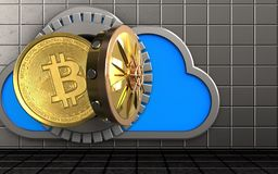 3d bitcoin over steel wall. 3d illustration of cloud with bitcoin over steel wall background Royalty Free Stock Photo