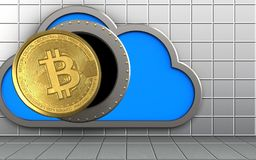 3d bitcoin over white wall. 3d illustration of cloud with bitcoin over white wall background Stock Images