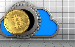3d bitcoin over white wall. 3d illustration of cloud with bitcoin over white wall background Royalty Free Stock Photo