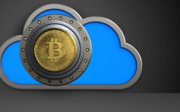 3d cloud bitcoin safe. 3d illustration of cloud with bitcoin safe over black background Stock Image