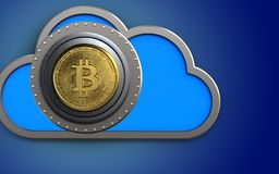 3d bitcoin safe safe. 3d illustration of cloud with bitcoin safe over blue background Royalty Free Stock Photo