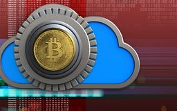 3d bitcoin safe bitcoin safe. 3d illustration of cloud with bitcoin safe over digital red background Stock Images