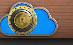3d bitcoin safe safe. 3d illustration of cloud with bitcoin safe over red bricks background Royalty Free Stock Image