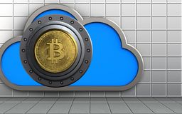 3d bitcoin safe cloud. 3d illustration of cloud with bitcoin safe over white wall background Stock Image