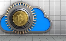 3d cloud safe. 3d illustration of cloud with bitcoin safe over white wall background Stock Photos