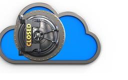 3d closed vault door closed vault door. 3d illustration of cloud with closed vault door over white background Stock Photography