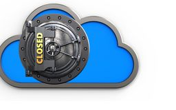 3d cloud closed vault door. 3d illustration of cloud with closed vault door over white background Royalty Free Stock Images