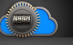 3d safe safe. 3d illustration of cloud with code lock door over black background Royalty Free Stock Images