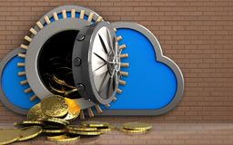 3d coins over bricks wall. 3d illustration of cloud with coins over bricks wall background Royalty Free Stock Photography